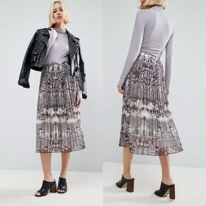 ASOS Flowy Pleated Midi Skirt In Snake Skin Print